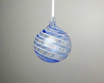 blue and clear swirl blown glass ornament