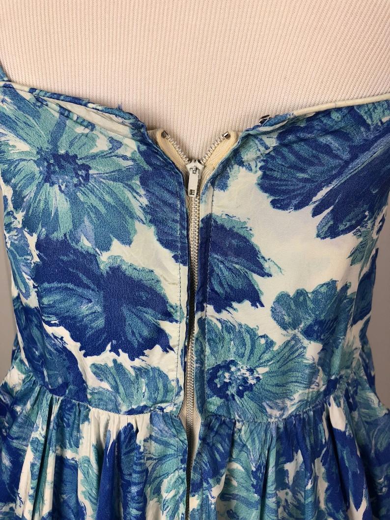 SMLMED Circle Skirt 1950/'s Blue Floral Bubble Cocktail Dress Sun Dress