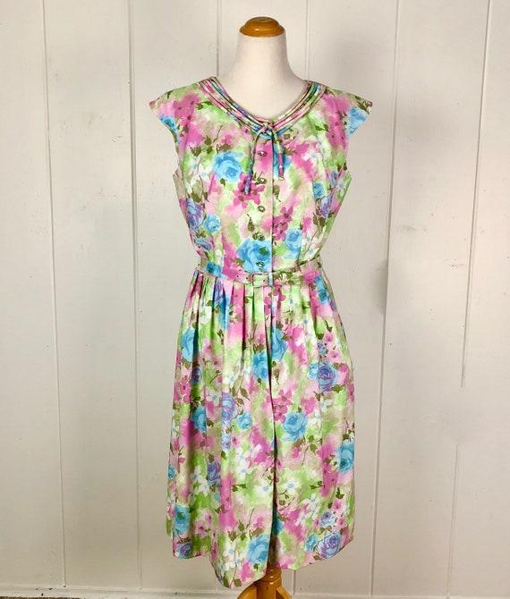 50's floral pastel summer dress