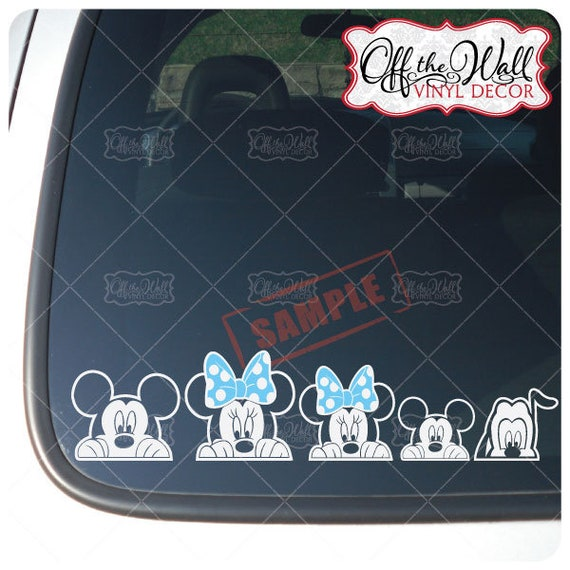 Peeking Mickey & Minnie   Car Truck car window decal sticker us seller free ship Collectibles Automobilia