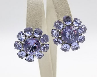 Sterling Silver Faceted Crystal Cluster Earrings
