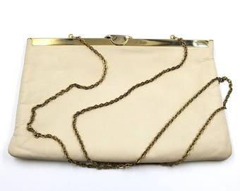 Etra Antique White Leathery Clutch or Shoulder Handbag