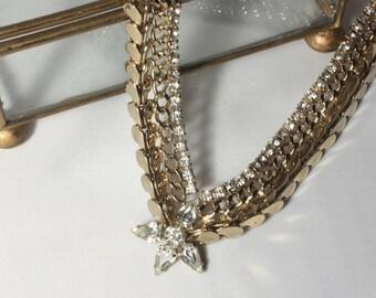 Gold Rhinestone V Necklace Choker, Mid Century High Fashion Necklace, Rhinestone, Crystal Necklace, Sophisticated, Bridal Jewelry, Wedding