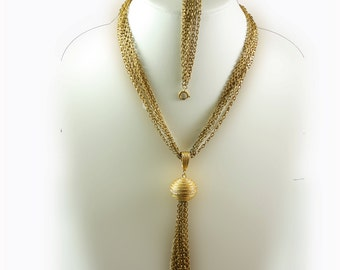 Multi Strand Chain Link Pendant, Tassel Necklace by Sarah Coventry, Pendant Bracelet Jewelry Set, Chain Link Necklace