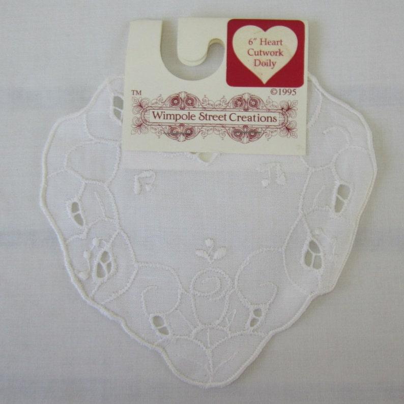6 inch Heart Cutwork Doilies Wimpole Street Creations doilies White Doilies New NOS Vintage Cutwork Doilies