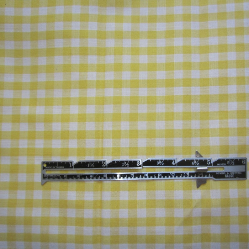 Gingham check fabric Gingham fabric NOS yellow plaid fabric Yellow /& white checked fabric woven check Yellow Gingham fabric 78 yd
