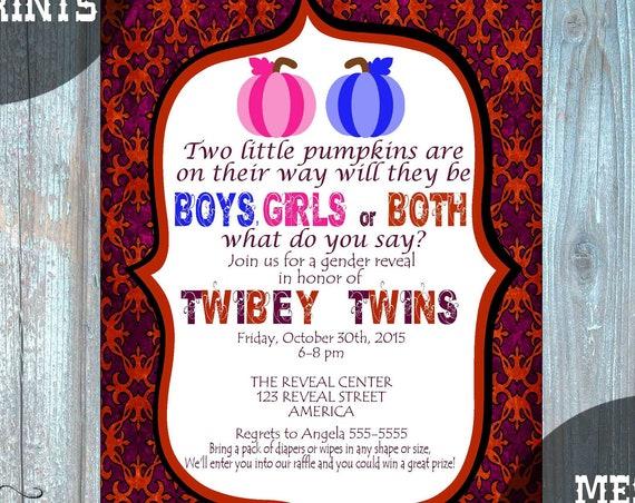 Gender Reveal TWINS! Pumpkin Gender Reveal Invitation, Twins Gender Reveal Invitation, Fall Gender Reveal, Halloween Gender Reveal 213