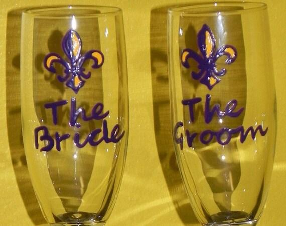 LSU wedding champagne flutes, LSU tigers wedding glasses