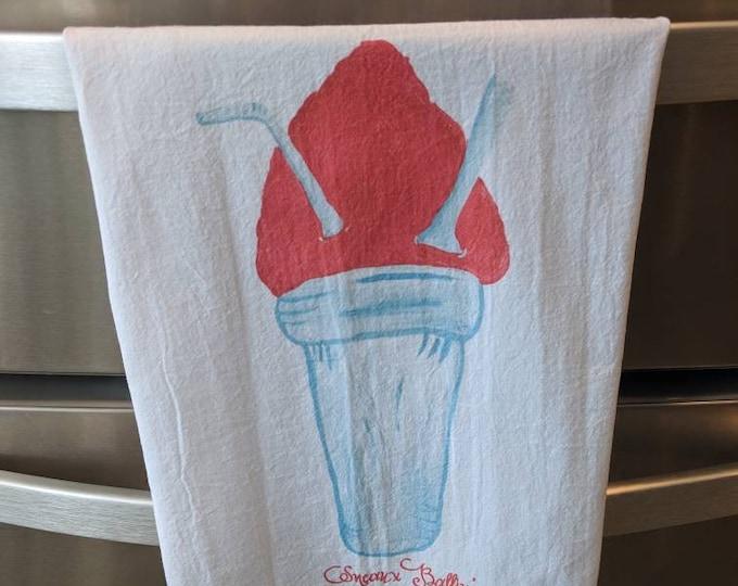 Featured listing image: New Oreleans Snowball Sneaux Ballin flour sack tea towels, kitchen towels, hand towel, flour sack towel, housewarming gift,
