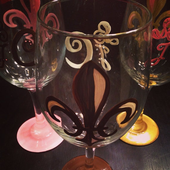 Fleur De Lis Wine Glass with monogram on the  back  monogrammed wedding gift 209
