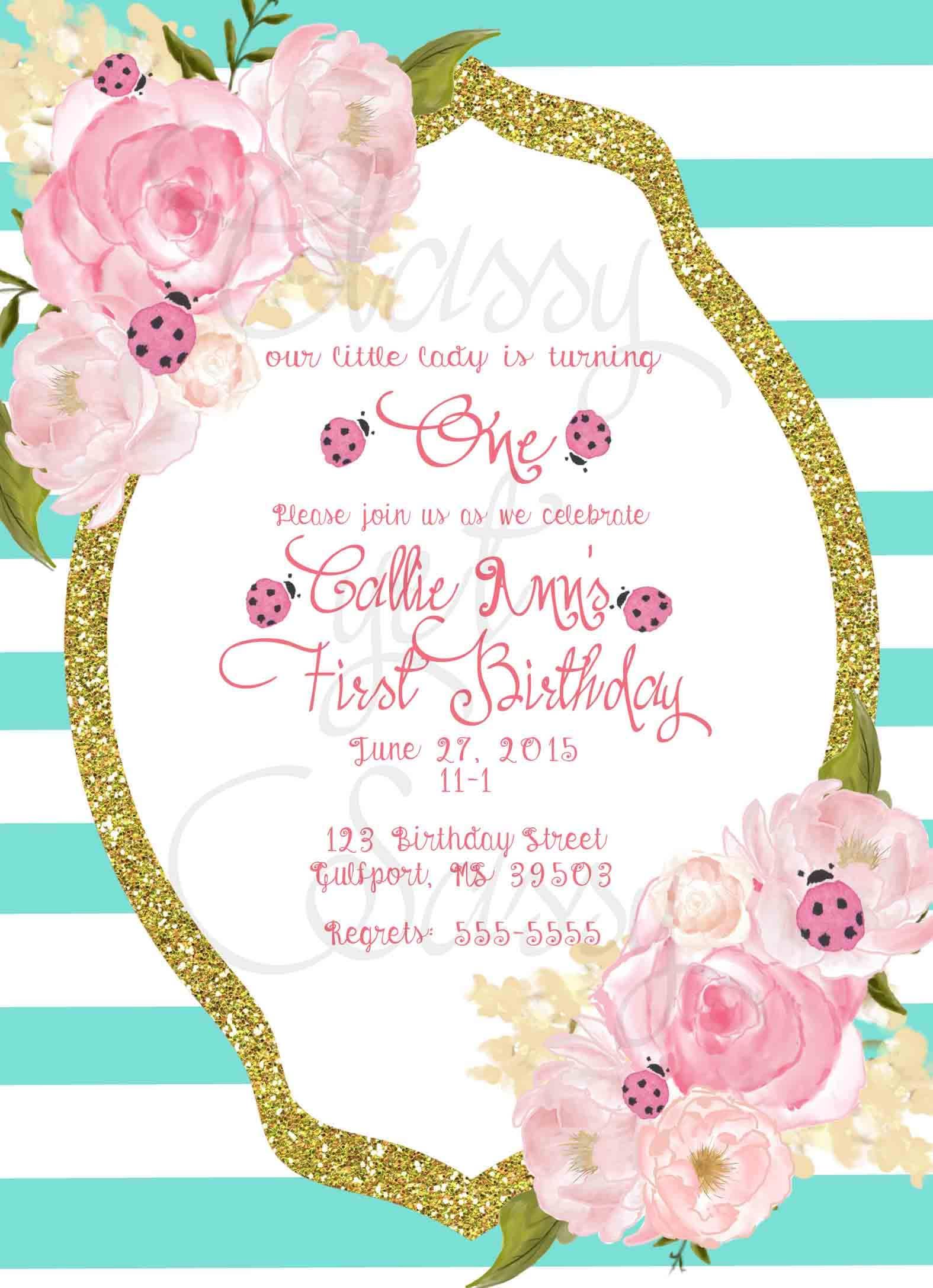 Ladybug Birthday Party Invitation, Ladybug Party, Aqua Glitter Party ...