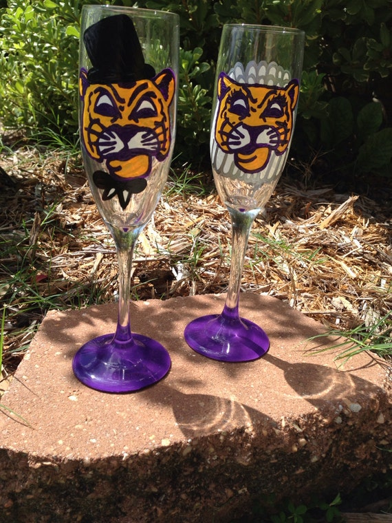 LSU Mike the Tiger Wedding toasting flutes
