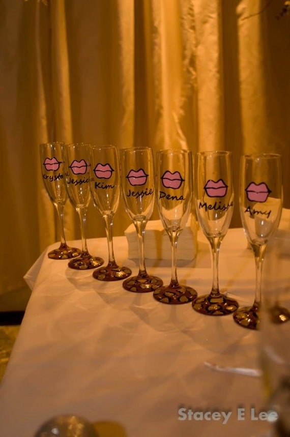 Custom Lips Wedding Champagne Flutes