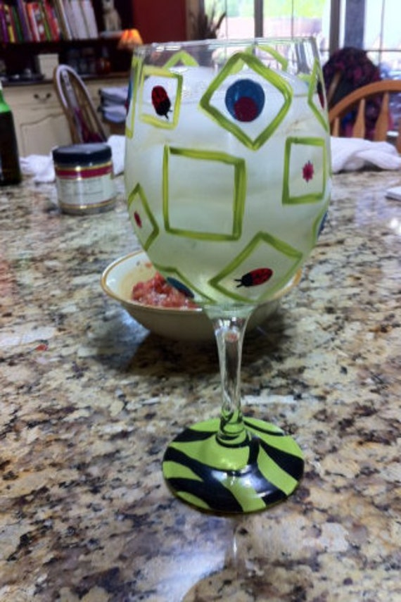 Abstract Design- Painted Wine Glass