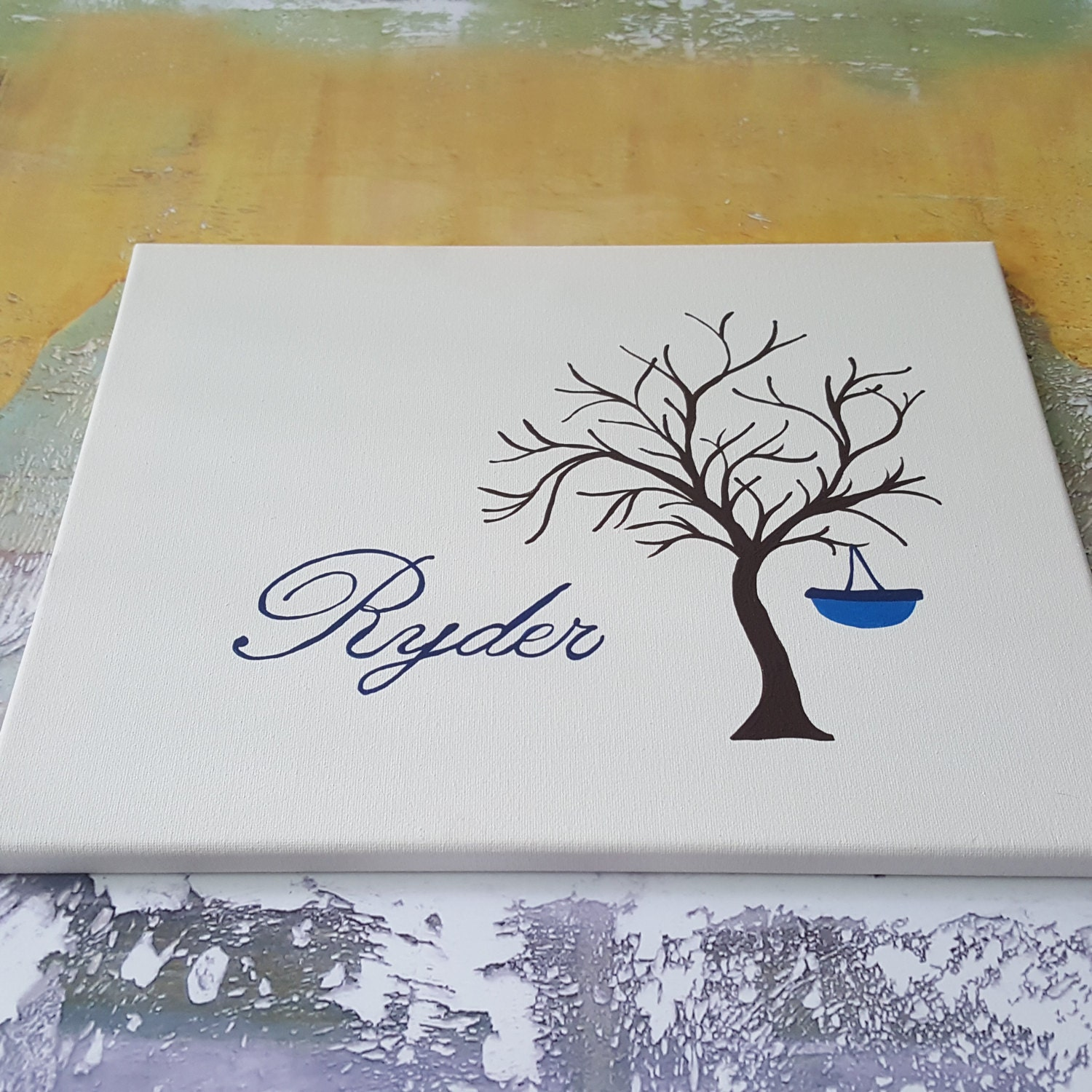 Finger Print Tree Canvas Baby Guestbook Alternative