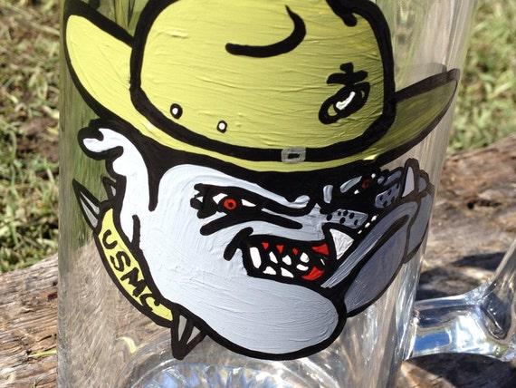 Marine Bulldog painted beer mug