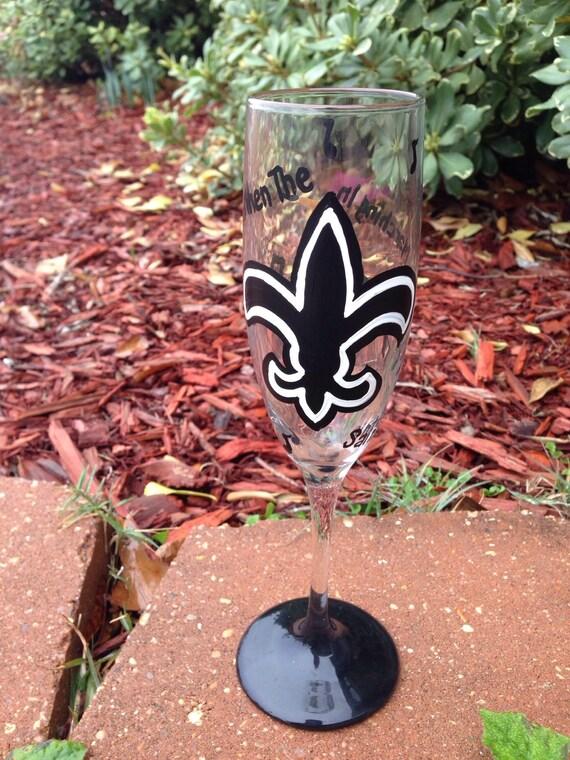 Jazz wine glass New Orleans Saints champagne flutes