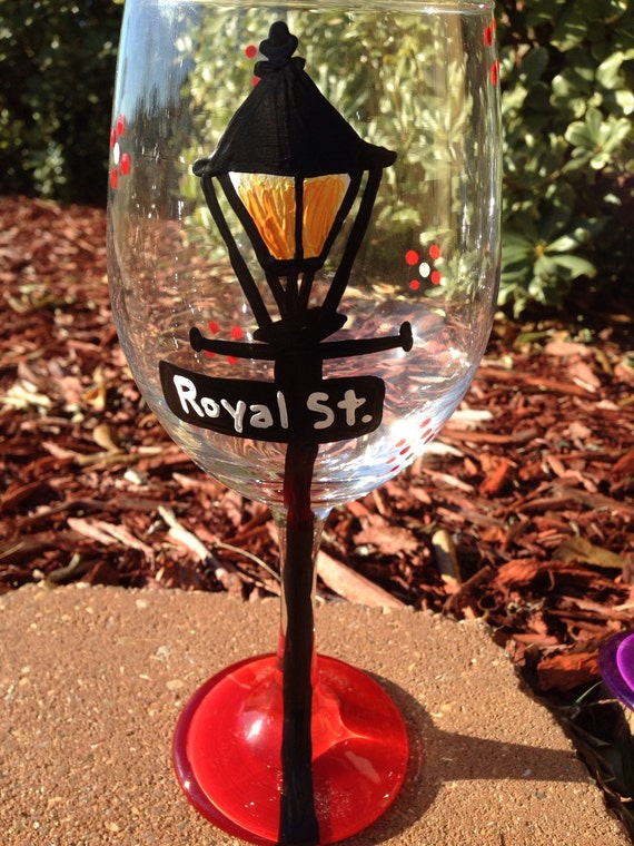 Royal Street new orleans lamp post street signs Painted Glasses Dishwasher safe Painted Wineglass New Orleans Louisiana