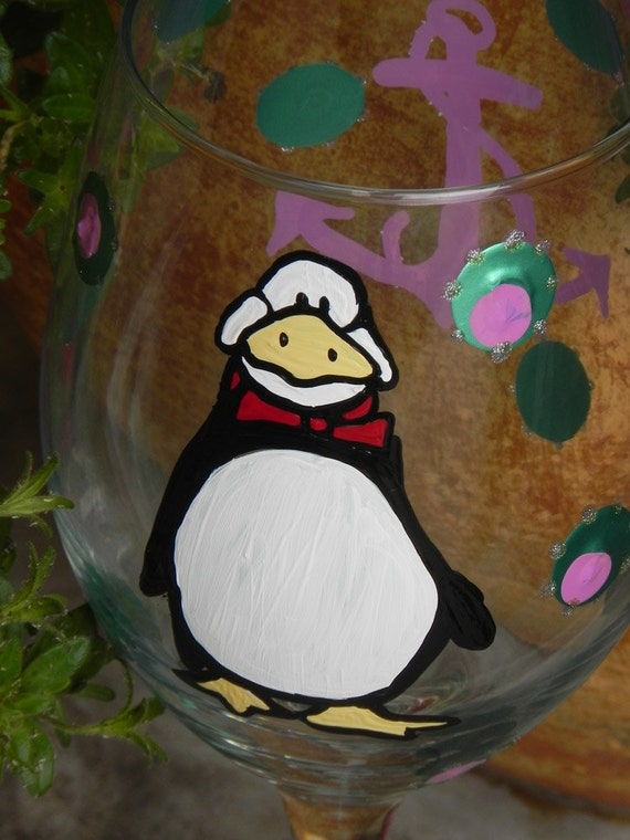 Tuxedo Penguin Wine Glass