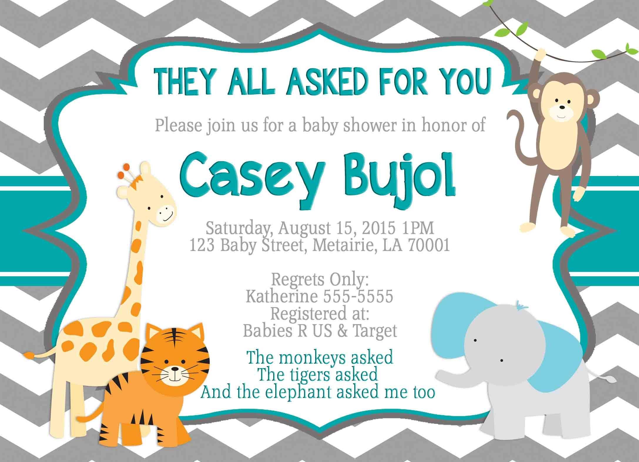 Jungle theme Baby Shower invitation, Jungle Invitation Shower ...