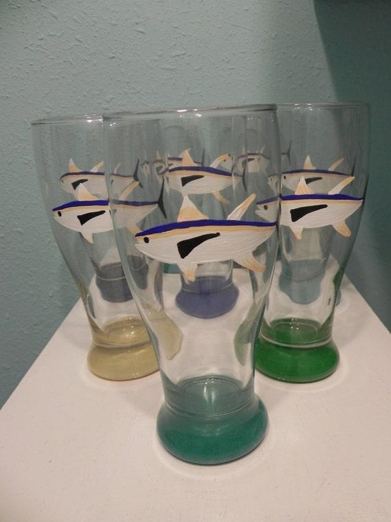 Man cave Fishing Camp glasses Yellow Fin Tuna Pub Glass