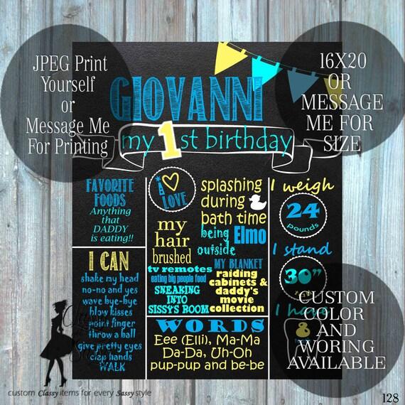 Custom Birthday Infographic Announcement DIGITAL FILE Birthday Chalkboard Poster Birthday Chalkboard Birthday Photo Prop 128