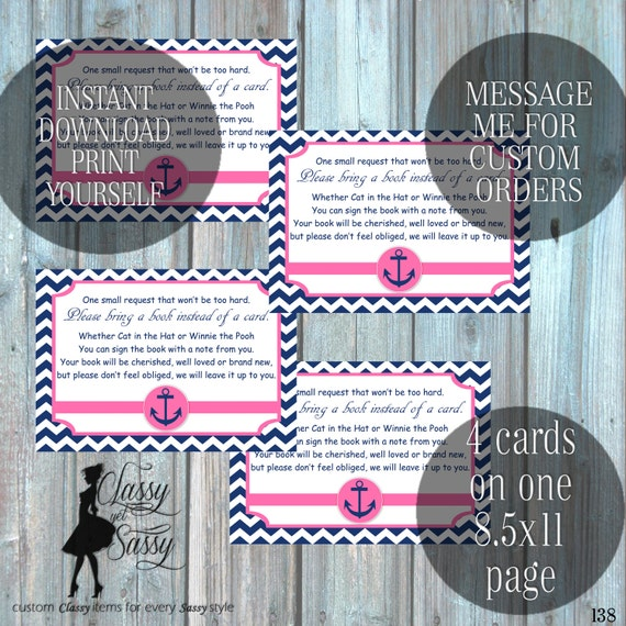 Bring a Book invitation Insert, Nautical Bring a Book invitation Insert- Printable Digital Download 138- Printable Digital Download 138