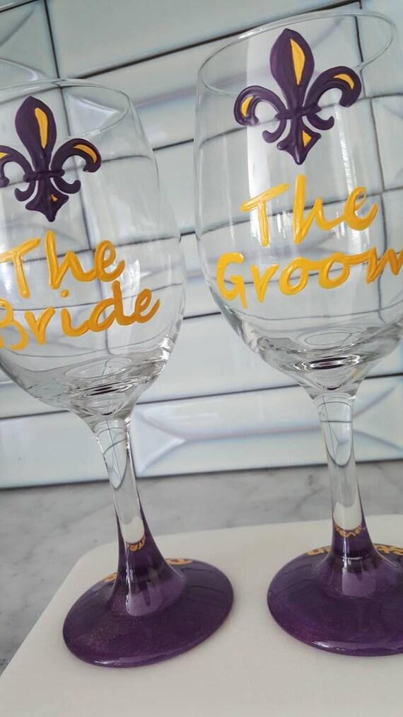 LSU Purple and Gold Bride and Groom Wine Glasses Football wedding Baton Rouge Wedding Louisiana Sports Fans