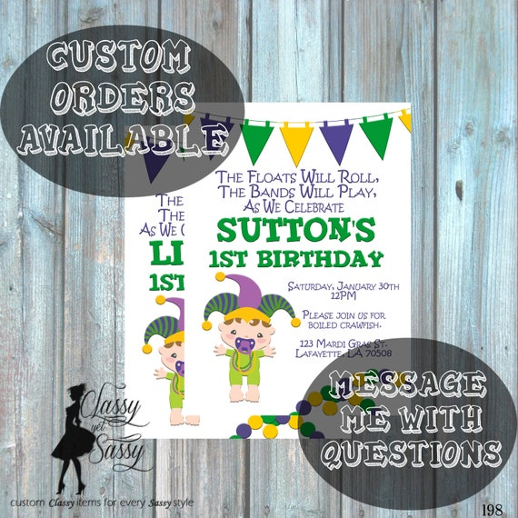 Mardi Gras Birthday Party Invitation, Mardi Gras Party, Parade party,  New Orleans Baby, New  -198