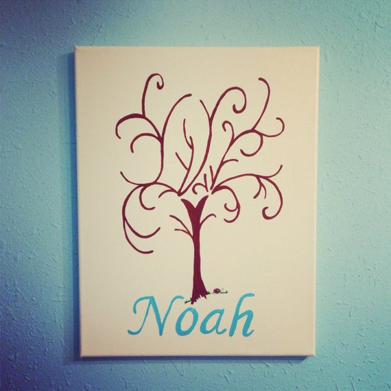 Guestbook alternative Baby Boy Shower Guest Book alternative fingerprint stamp tree