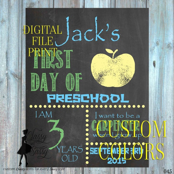 First Day Of School. First Day of Preschool, First day sign, Chalkboard Sign 045