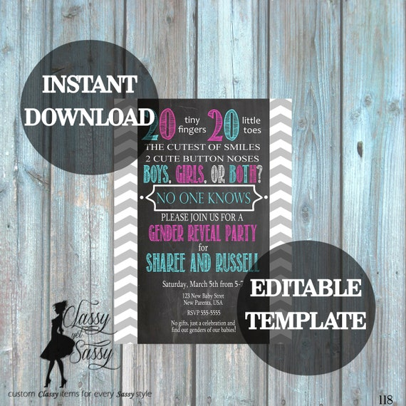 Twins Gender Reveal Invitation Template, Twins Invitation Editable, Twins Baby Reveal Template, 118
