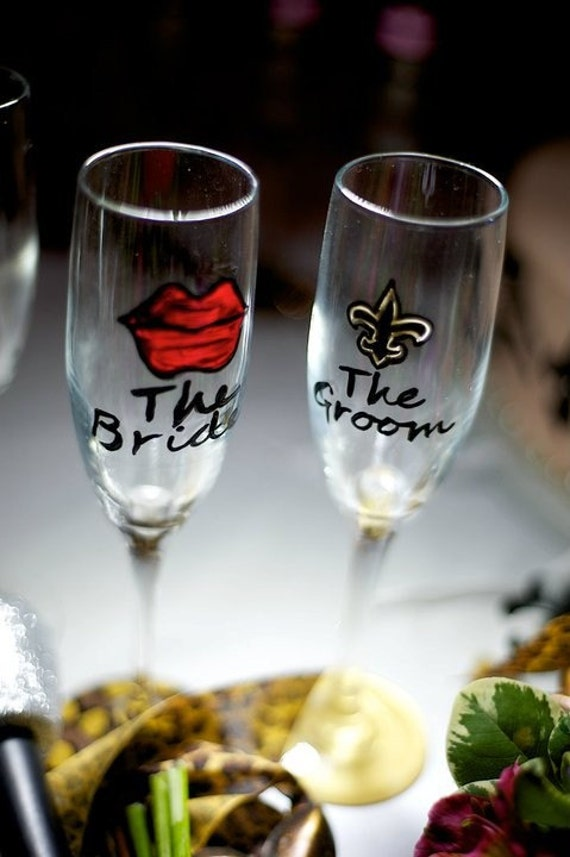 Custom PAINTED champagne flutes