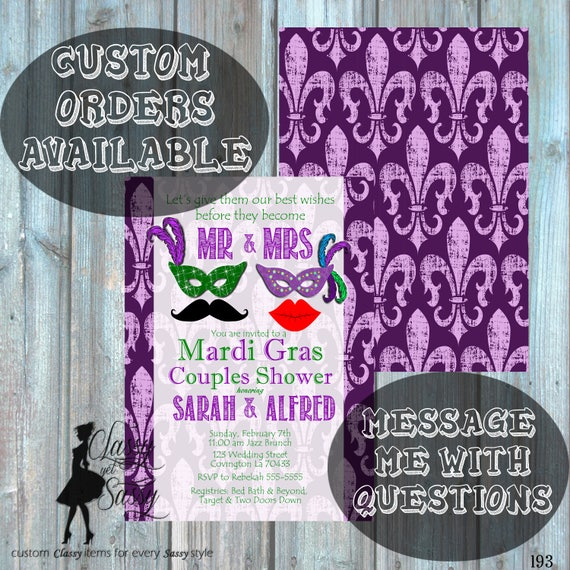 Mardi Gras Couples Shower Invitation, Masquerade Engagement Shower Invitation, Carnival Shower party Invitation 193