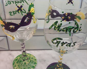 Mardi Gras Painted Glasses
