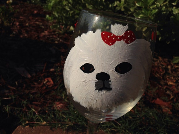Custom painted pet wineglass, shitzu toy breed dogs, dog lover, dog bows, animal lover