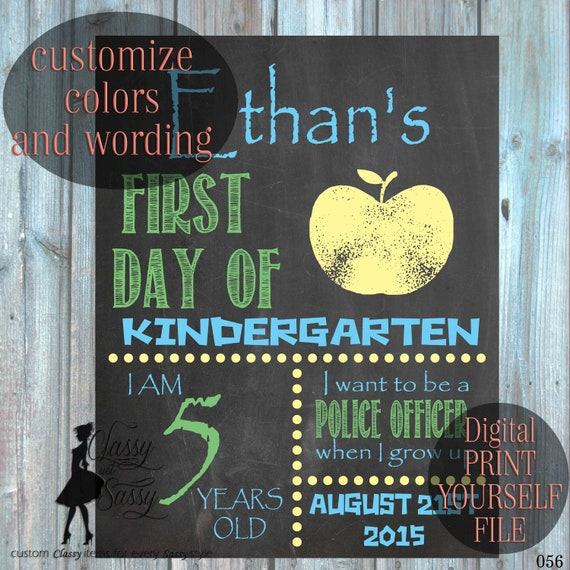 First Day of School Editable Chalkboard sign 056