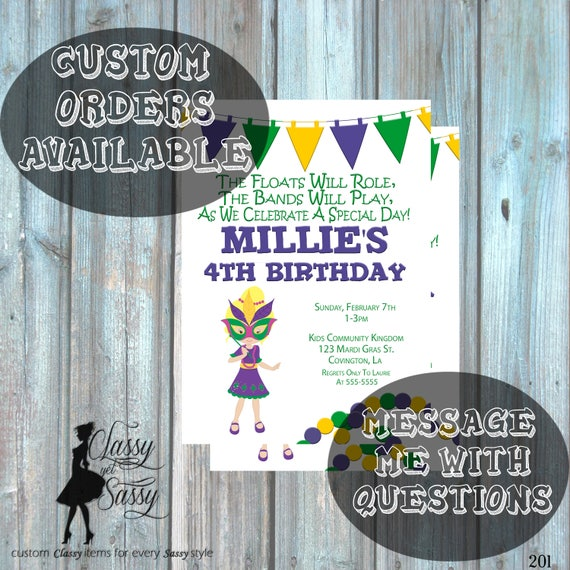 Mardi Gras Birthday Party Invitation, Mardi Gras Party, Parade party,  New Orleans Baby, New  Orleans Birthday Invitation-201