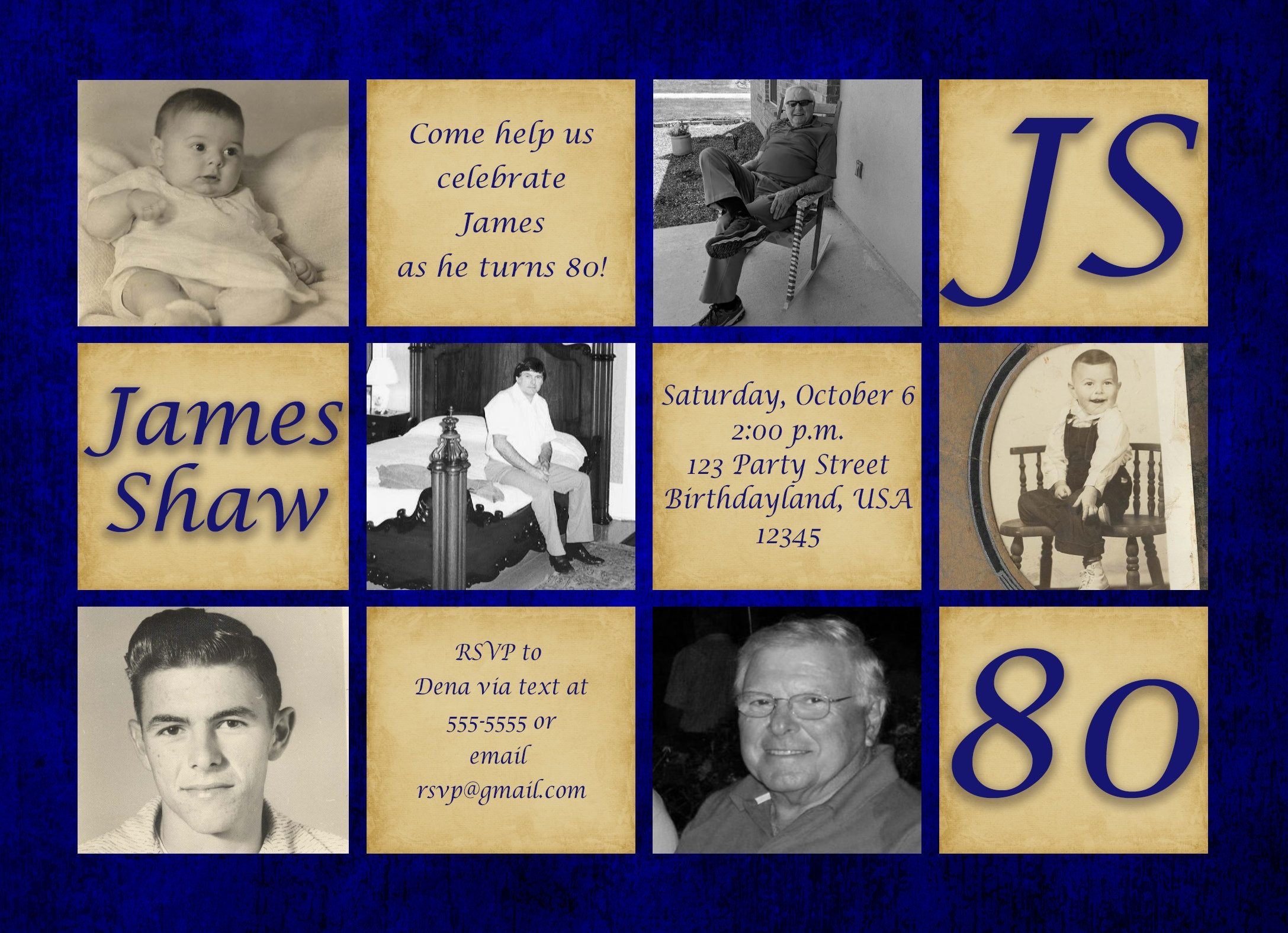 80th Birthday Invitation For Men Surprise Party Invite Gender Neutral Photo 215