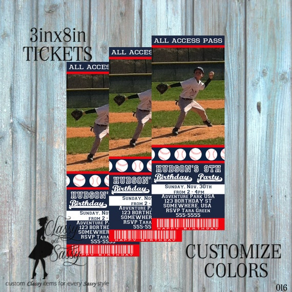 Baseball invitation - baseball birthday invite- baseball ticket invitation - boys invitation - DIY Printable invitation-016