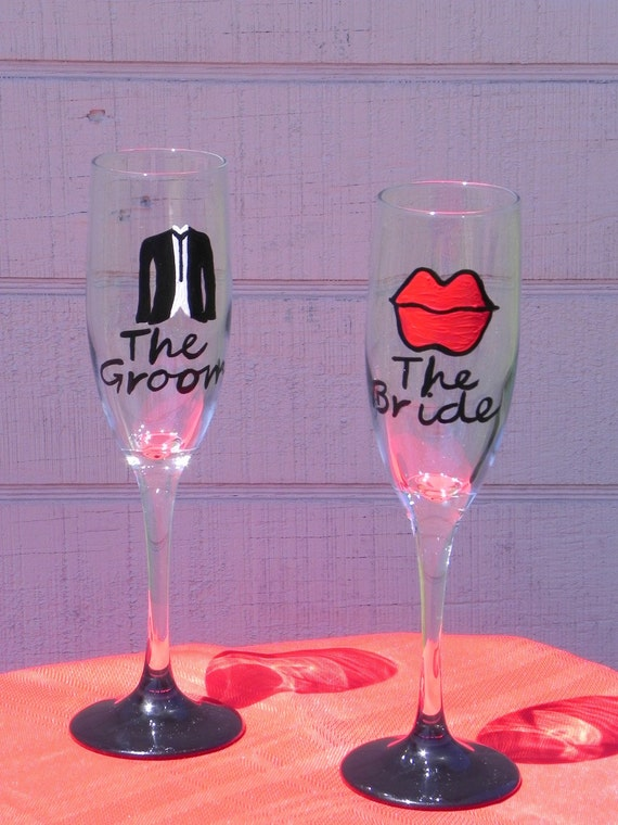 Custom Painted  Lips and Tuxedo Champagne  Wedding Flutes for the bride and groom