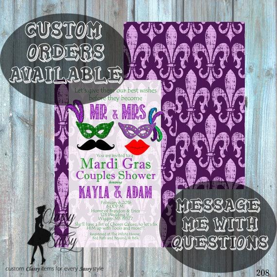Mardi Gras Couples Shower Invitation, Masquerade Engagement Shower Invitation, Carnival Shower party Invitation 208