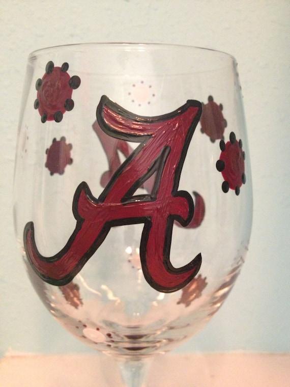Alabama  A Wine Glass Crimson Tide Painted Wine glass Sports Painted Wine Glass college sports wine glass