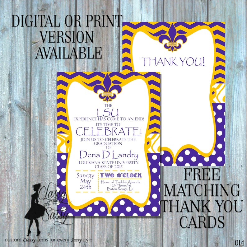 LSU Graduation Invitation Purple And Gold Fleur De Lis Birthday 015
