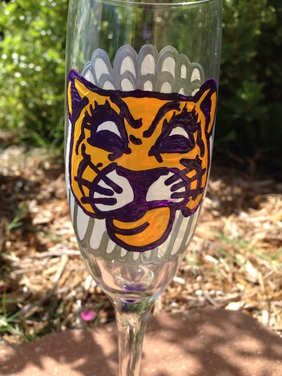 LSU Tiger Bride Champagne Glass Mike the Tiger Wedding toasting flute