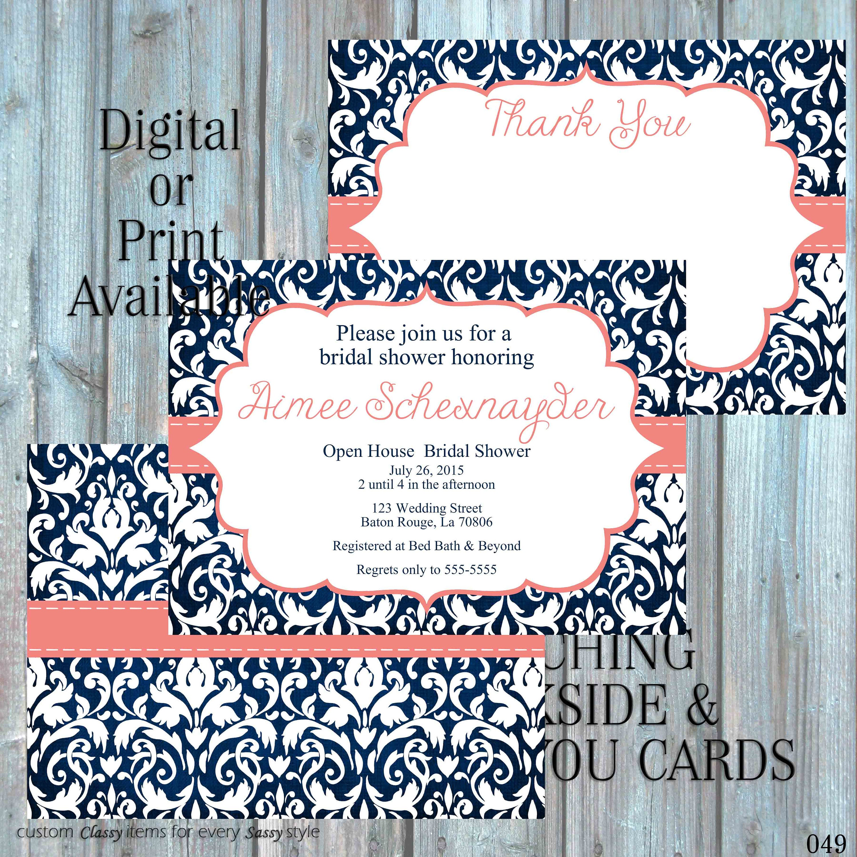 Navy blue and coral bridal shower invitation damask bridal shower navy blue and coral bridal shower invitation damask bridal shower invitation rehearsal dinner invitation couples shower invitation 049 filmwisefo