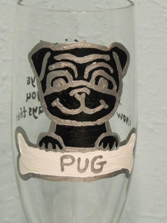 Pug with dog bone Dog custom painted champagne flutes