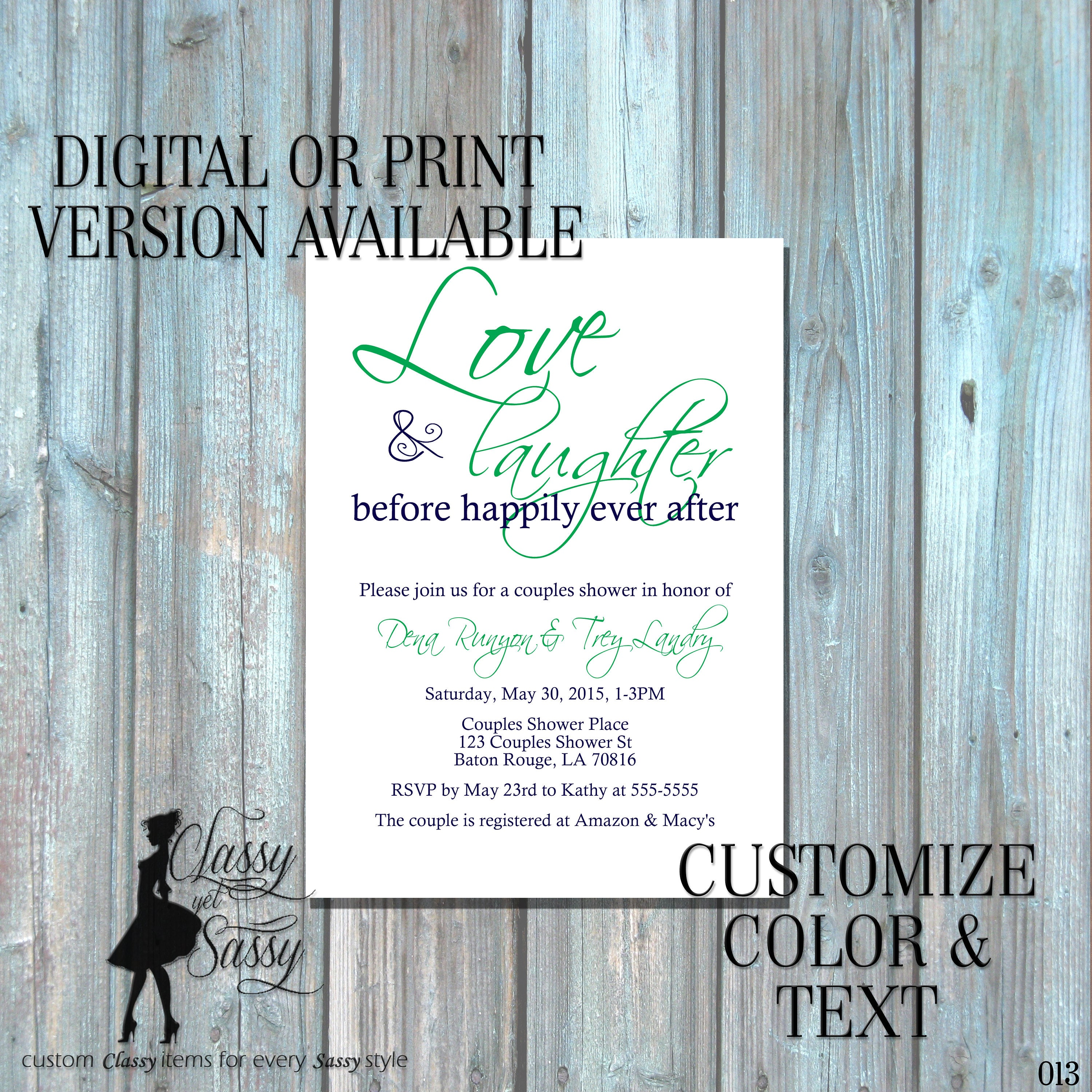 ca8ec93ebbc3 Love and Laughter Before Happily Ever After Invitation