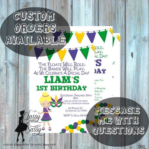 Mardi Gras Birthday Party Invitation, Mardi Gras Party, Parade party,  New Orleans Baby, New  Orleans Birthday Invitation-202