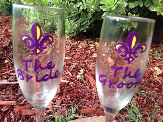 LSU Fleur de Lis WEDDING FLUTES College football wedding theme | Etsy